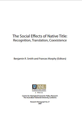 Free e books the social effects of native title recognition translation coexistence fandeluxe Gallery